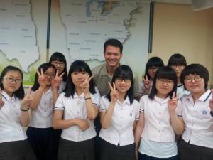 Tom with his students in Korea.