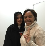 Kim George with a student in Saudi Arabia